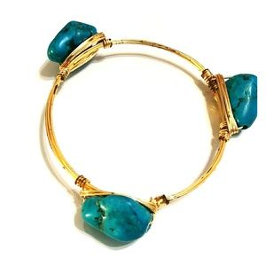 Gold Wire,Turquoise Bead Bangle